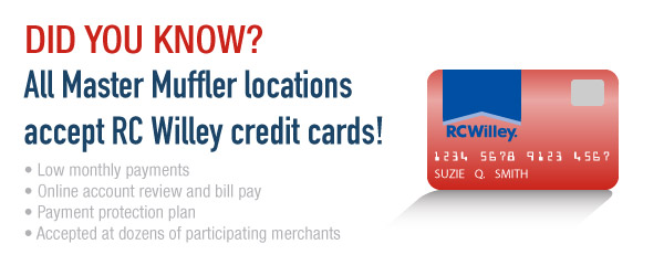 All Tire Trax locations accept RC Willey credit cards